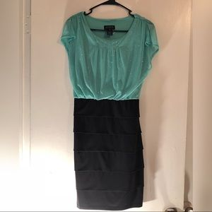 Mint green sparkly Top dress w/ black layer bottom